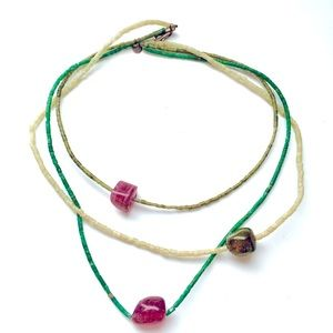 Vintage 1970s Tourmaline and Glass Bead Necklace